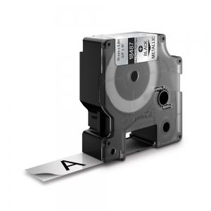 Etichete industriale autocolante, DYMO ID1, poliester permanent, 19mm x 5.5m, negru/argintiu metalizat, 18487 S07182001