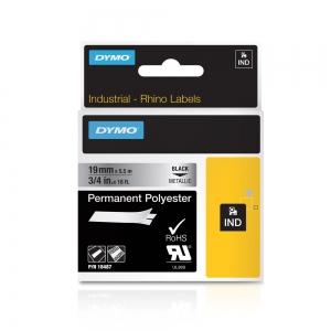 Etichete industriale autocolante, DYMO ID1, poliester permanent, 19mm x 5.5m, negru/argintiu metalizat, 18487 S07182005