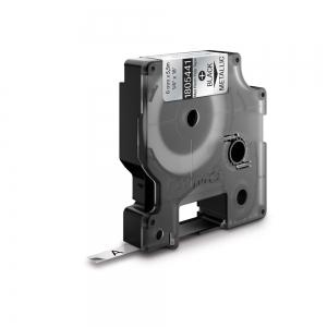 Etichete industriale autocolante, DYMO ID1, poliester permanent, 6mm x 5.5m, negru/argintiu metalizat, 18054411