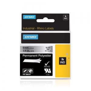Etichete industriale autocolante, DYMO ID1, poliester permanent, 6mm x 5.5m, negru/argintiu metalizat, 18054415