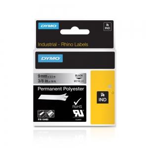 Etichete industriale autocolante, DYMO ID1, poliester permanent, 9mm x 5.5m, negru/argintiu metalic, 184855