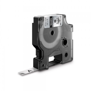 Etichete industriale autocolante, DYMO ID1, poliester permanent, 9mm x 5.5m, negru/argintiu metalic, 184851