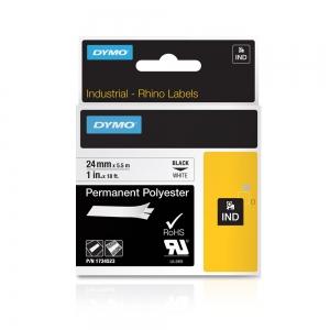 Etichete industriale autocolante, DYMO ID1, poliester permanent, 24mm x 5.5m, negru/alb, 1734523 S07738308