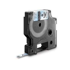Etichete industriale autocolante, DYMO ID1, poliester permanent, 6mm x 5.5m, negru/transparent, 18054401