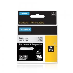 Etichete industriale autocolante, DYMO ID1, poliester permanent, 6mm x 5.5m, negru/transparent, 18054404