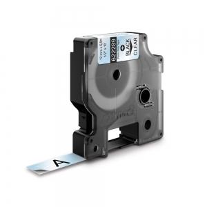 Etichete industriale autocolante, DYMO ID1, poliester permanent, 12mm x 5.5m, negru/transparent, 6222891