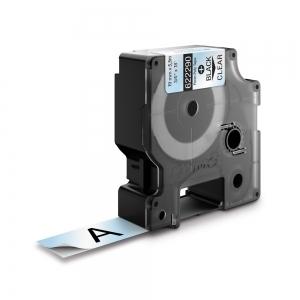 Etichete industriale autocolante, DYMO ID1, poliester permanent, 19mm x 5.5m, negru/transparent, 6222901