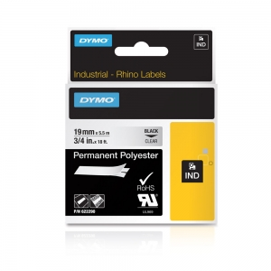 Etichete industriale autocolante, DYMO ID1, poliester permanent, 19mm x 5.5m, negru/transparent, 6222905
