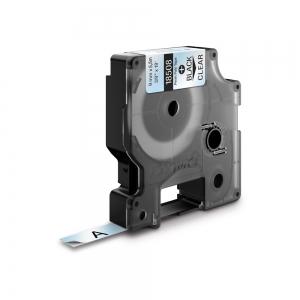 Etichete industriale autocolante, DYMO ID1, poliester permanent, 9mm x 5.5m, negru/transparent, 18508DMO1