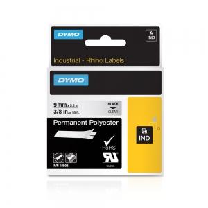 Etichete industriale autocolante, DYMO ID1, poliester permanent, 9mm x 5.5m, negru/transparent, 18508DMO4