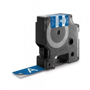 Etichete industriale autocolante, DYMO ID1 vinil, 19mm x 5.5m, alb/albastru, 18054171