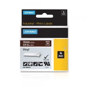 Etichete industriale autocolante, DYMO ID1 vinil, 19mm x 5.5m, alb/maro, 18054183