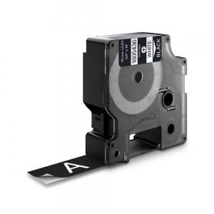 Etichete industriale autocolante, DYMO ID1 vinil, 19mm x 5.5m, alb/negru, 18054361