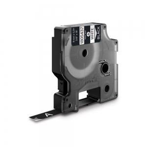 Etichete industriale autocolante, DYMO ID1 vinil, 9mm x 5.5m, alb/negru, 18054371