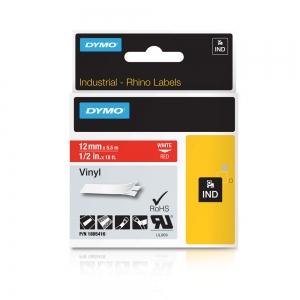 Etichete industriale autocolante, DYMO ID1 vinil, 12mm x 5.5m, alb/rosu, 18054165