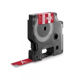 Etichete industriale autocolante, DYMO ID1 vinil, 12mm x 5.5m, alb/rosu, 18054161