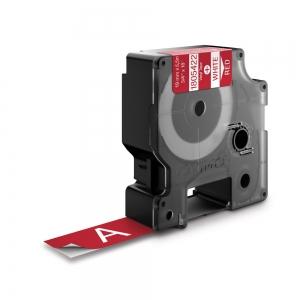 Etichete industriale autocolante, DYMO ID1 vinil, 19mm x 5.5m, alb/rosu, 18054221