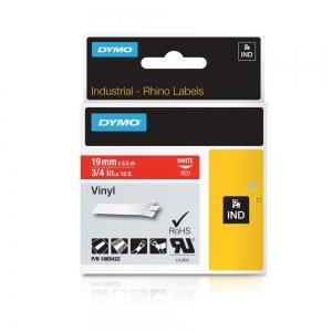 Etichete industriale autocolante, DYMO ID1 vinil, 19mm x 5.5m, alb/rosu, 18054224
