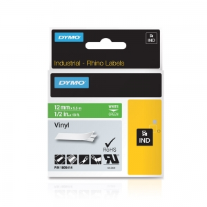 Etichete industriale autocolante, DYMO ID1 vinil, 12mm x 5.5m, alb/verde, 18054145