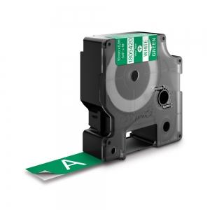 Etichete industriale autocolante, DYMO ID1 vinil, 19mm x 5.5m, alb/verde, 18054201