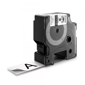 Etichete industriale autocolante, DYMO ID1 vinil, 24mm x 5.5m, negru/alb, 18054301