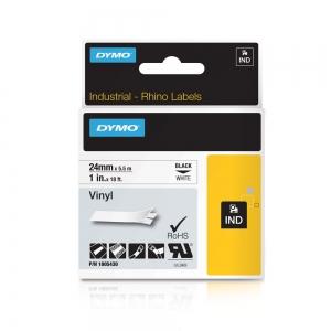 Etichete industriale autocolante, DYMO ID1 vinil, 24mm x 5.5m, negru/alb, 18054308