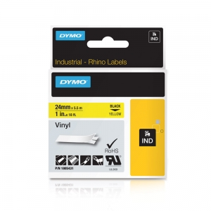 Etichete industriale autocolante, DYMO ID1 vinil, 24mm x 5.5m, negru/galben, 18054318