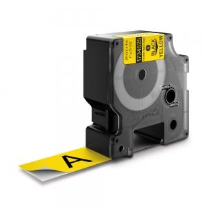 Etichete industriale autocolante, DYMO ID1, nailon flexibil, 24mm x 3.5m, negru/galben, 1734525 S07738501