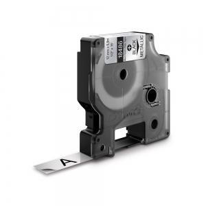 Etichete industriale autocolante, DYMO ID1, poliester permanent, 12mm x 5.5m, negru/argintiu metalizat, 184861
