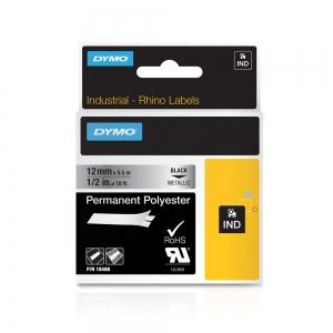 Etichete industriale autocolante, DYMO ID1, poliester permanent, 12mm x 5.5m, negru/argintiu metalizat, 184866