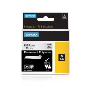 Etichete industriale autocolante, DYMO ID1, poliester permanent, 24mm x 5.5m, negru/transparent, 18054335