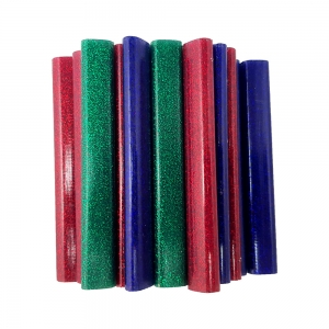 Rapid Oval Low temp Glue Stick Coloured, 9mmx94mm, color adesiv glitter red, green and blue, 125g, 401084628