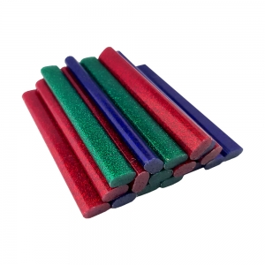 Rapid Oval Low temp Glue Stick Coloured, 9mmx94mm, color adesiv glitter red, green and blue, 125g, 401084627
