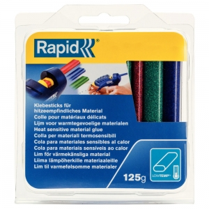 Rapid Oval Low temp Glue Stick Coloured, 9mmx94mm, color adesiv glitter red, green and blue, 125g, 401084629