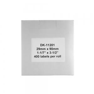 Etichete termice autocolante compatibile, Brother DK-11201, hartie alba, permanente, 29mmx90mm, 400 etichete/rola, suport din plastic inclus DK11201-C3