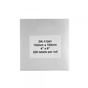 Etichete termice autocolante transport, compatibile, Brother DK-11241, hartie alba, permanente, 102mmx152mm, 200 etichete/rola, suport din plastic inclus DK11241-C3