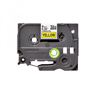 Brother TZE621 etichete originale laminate 9mm x 8m, negru pe galben, P-Touch TZe-6210