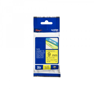 Brother TZE621 etichete originale laminate 9mm x 8m, negru pe galben, P-Touch TZe-6218