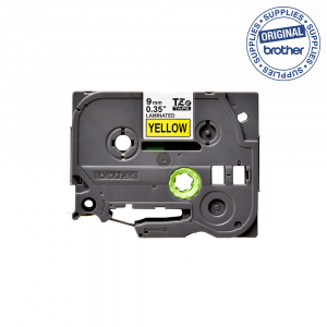 Brother TZE621 etichete originale laminate 9mm x 8m, negru pe galben, P-Touch TZe-6211
