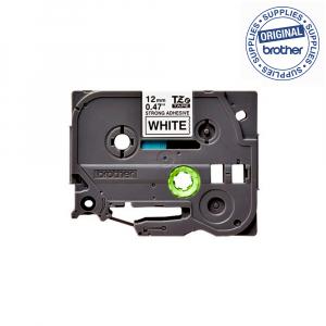 Brother TZES231 etichete originale adeziv puternic 12mm x 8m, negru pe alb, PTouch laminate, utilizare la interior sau exterior, rezistenta la apa TZe-S2311