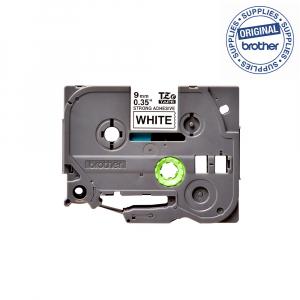 Brother TZES221 etichete originale adeziv puternic 9mm x 8m, negru pe alb, PTouch laminate, utilizare la interior sau exterior, rezistenta la apa TZe-S2211