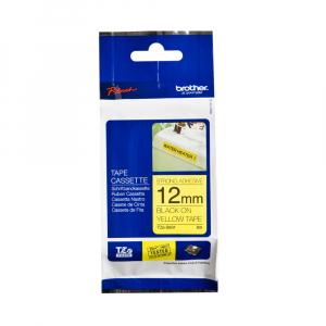Brother TZES631 etichete originale adeziv puternic 12mm x 8m, negru pe galben, PTouch laminate, utilizare la interior sau exterior, rezistenta la apa TZe-S63111