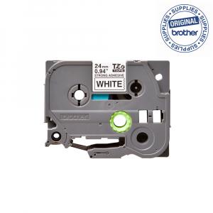 Brother TZES251 etichete originale adeziv puternic 24mm x 8m, negru pe alb, PTouch laminate, utilizare la interior sau exterior, rezistenta la apa TZe-S2511