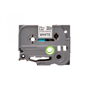 Brother TZES251 etichete originale adeziv puternic 24mm x 8m, negru pe alb, PTouch laminate, utilizare la interior sau exterior, rezistenta la apa TZe-S2510