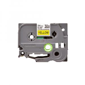 Brother TZES651 etichete originale adeziv puternic 24mm x 8m, negru pe galben, PTouch laminate, utilizare la interior sau exterior, rezistenta la apa TZe-S6510