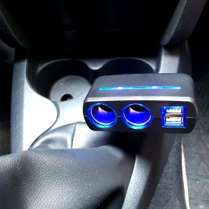 Adaptor spliter auto Olesson, 2 cai fixe + 2 USB, iluminate LED, 16372