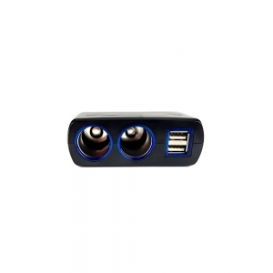 Adaptor spliter auto Olesson, 2 cai fixe + 2 USB, iluminate LED, 16373