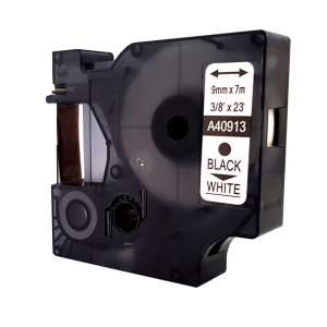 Etichete autocolante compatibile, 9mm x 7m, negru/alb, 40913 S0720680-C5