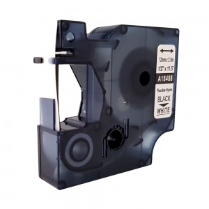 Etichete industriale autocolante compatibile nailon flexibil, 12mm x 3.5m, negru/alb, 18488 S0718100-C8