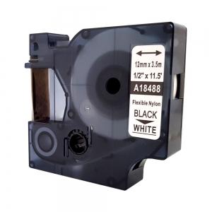 Etichete industriale autocolante compatibile, DYMO ID1, nailon flexibil, 12mm x 3.5m, negru/alb, 18488 S0718100-C7